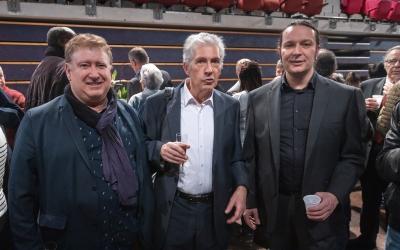 Jean-Michel Ruiz, Alain Lacombe, ancien maire de Fosses, et Pierre Barros, actuel maire de Fosses.