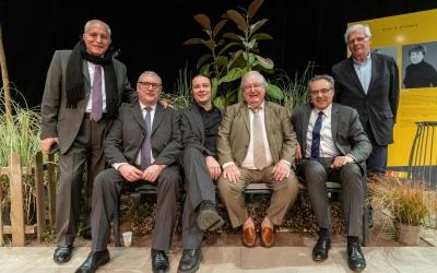 Yves Murru, maire de Puiseux, Jean-Marie Fossier, maire de Louvres, Pierre Barros, Patrick Renaud, président de la CARPF, Jean-Noël Moisset, maire de Survilliers, et André Specq, maire de Marly-la-Ville.
