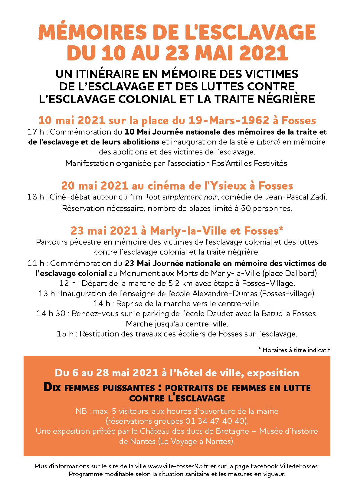 flyer programme du parcours Mémoires de l'esclavage 2021 à Fosses